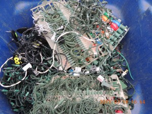 Copper Recycling, Breakage – Christmas lights, thin insulated wires.